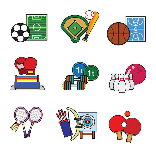 Horizontal Poster featuring the digital art Various Sports by Eastnine Inc.