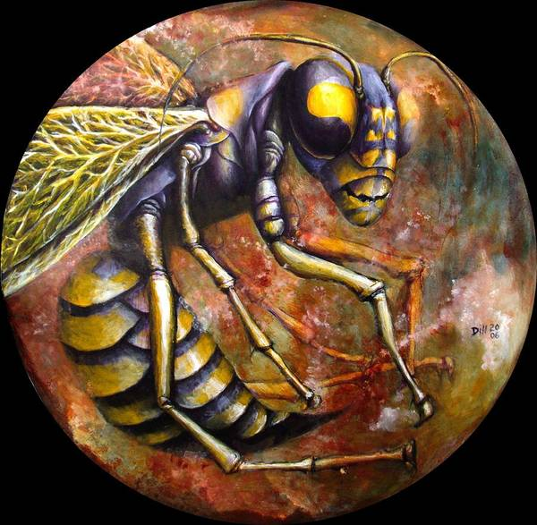 Wasp Insect Bug Amber Brown Poster featuring the painting Wasp by Rust Dill