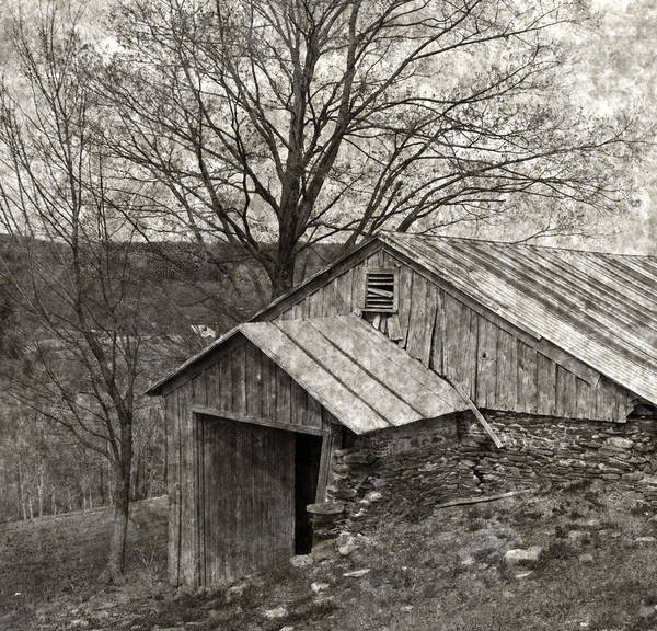 Tin Poster featuring the photograph Weathered Hillside Barn by John Stephens