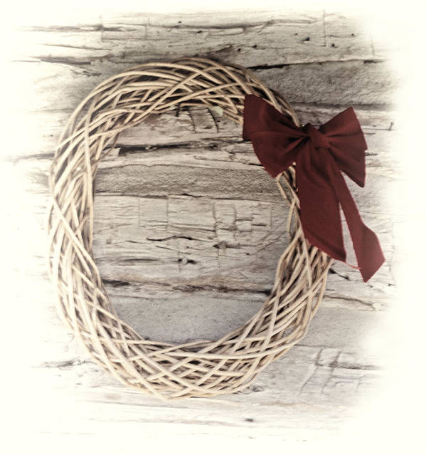 Christmas. Woven Poster featuring the photograph Woven Reed Wreath by Linda Phelps