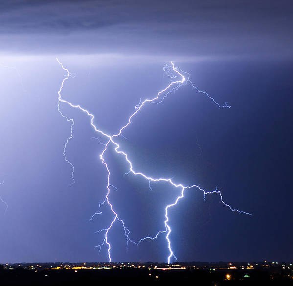 City Poster featuring the photograph X Lightning Bolt In The Sky by James BO Insogna