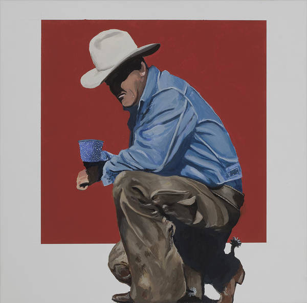 Cowboy Drinking Coffee Poster featuring the painting Coffee Time by Marston A Jaquis