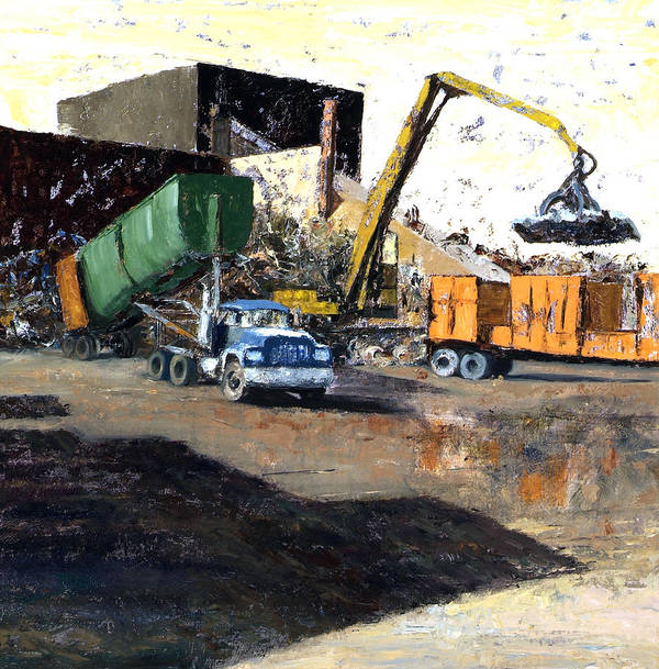 Trucks And Cranes At A Steel And Aluminum Recycling Center Chicago Industrial Corridor Poster featuring the painting The Blue Truck by Nancy Albrecht