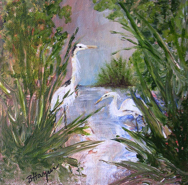 Heron Poster featuring the painting 2 Herons In Hiding by Barbara Harper