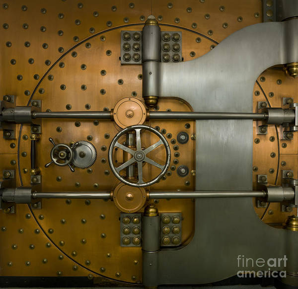 Architectural Poster featuring the photograph Bank Vault Door Exterior by Adam Crowley