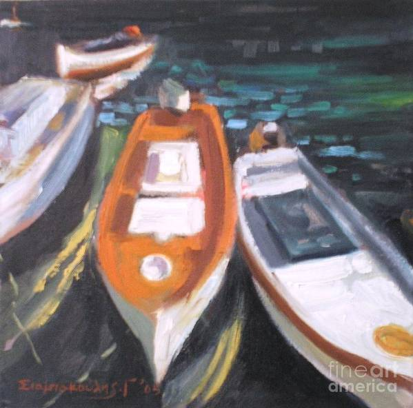 Boats And Ships.harbors.seascapes.seas.greece Poster featuring the painting Boats by George Siaba