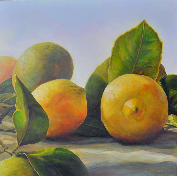 Acrylic Painting Poster featuring the painting Citrons by Muriel Dolemieux