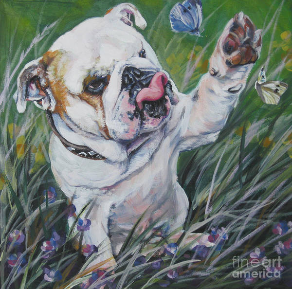 English Bulldog Poster featuring the painting English Bulldog by Lee Ann Shepard