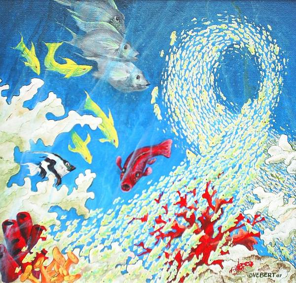 Marine Life Poster featuring the painting Fish Swarm by Dennis Vebert