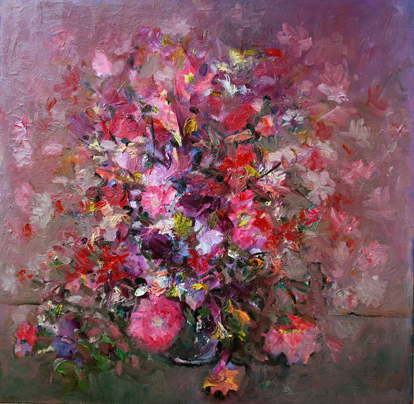 Pink Flowers Poster featuring the painting Flowers by Mario Zampedroni