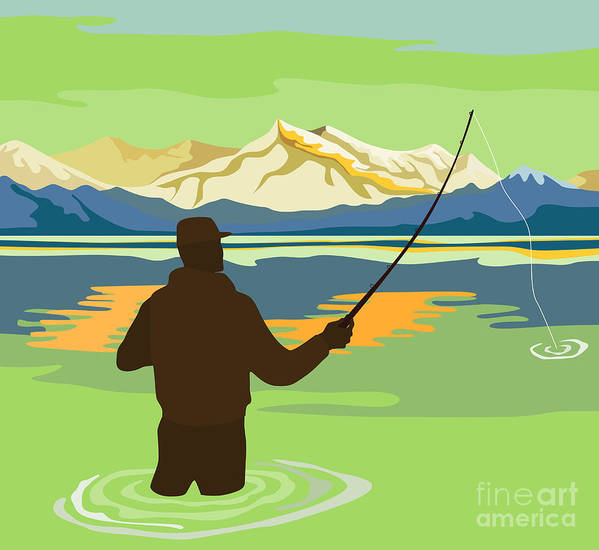 Fly Fisherman Poster featuring the digital art Fly Fisherman Casting by Aloysius Patrimonio