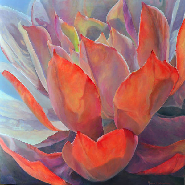 Floral Poster featuring the painting Grand Succulent by Muriel Dolemieux