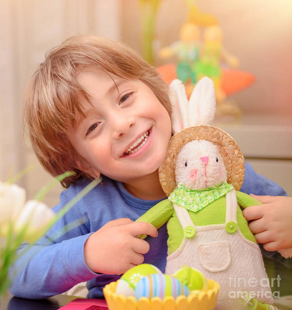 Active Poster featuring the photograph Happy Boy With Easter Bunny by Anna Om