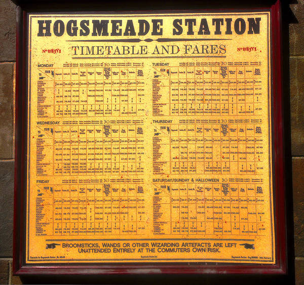 Hogsmeade Station Timetable Poster featuring the photograph Hogsmeade Station Timetable by David Lee Thompson