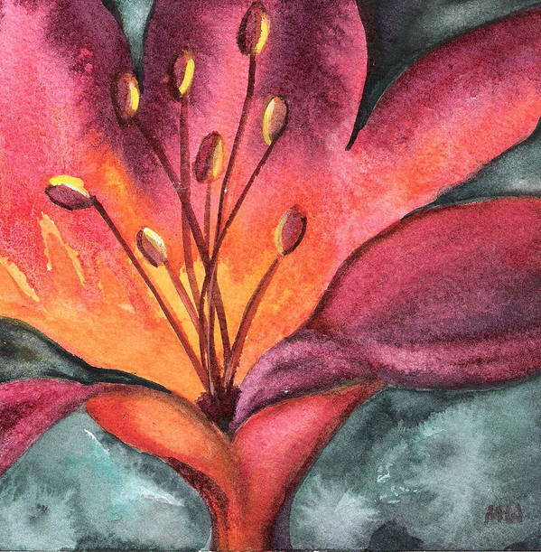 Lily Poster featuring the painting Lily Blaze by Marsha Woods