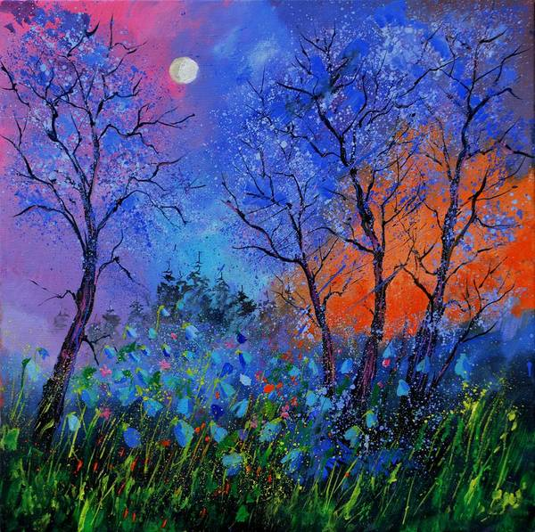 Landscape Poster featuring the painting Magic wood by Pol Ledent