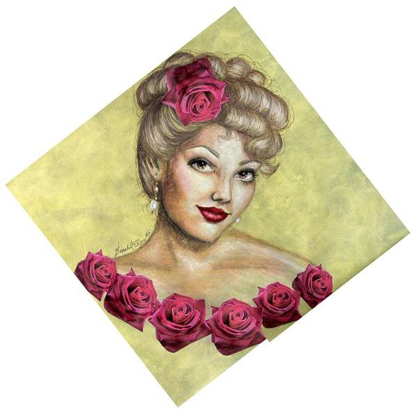 Portrait Poster featuring the drawing Rose by Scarlett Royal