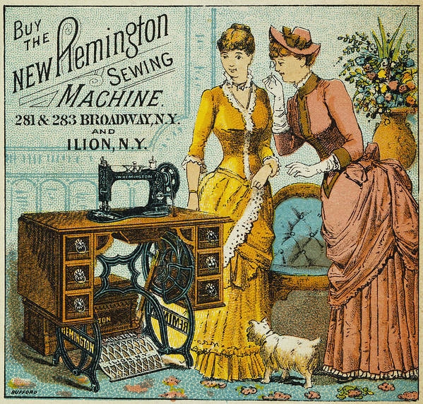1880s Poster featuring the photograph Sewing Machine Ad, C1880 by Granger