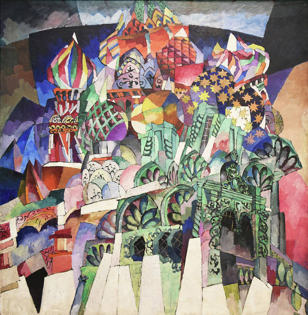 Russian Cubism Poster featuring the painting St. Basil's Cathedral by Aristarkh Lentulov