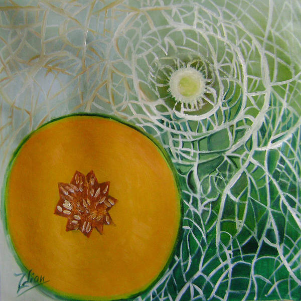 Abstract Poster featuring the painting Sweet Melon Patterns by Lian Zhen