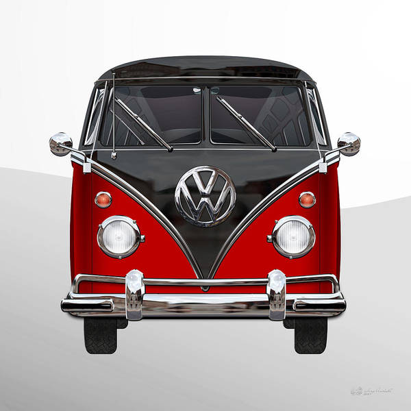 'volkswagen Type 2' Collection By Serge Averbukh Poster featuring the photograph Volkswagen Type 2 - Red and Black Volkswagen T 1 Samba Bus on White by Serge Averbukh