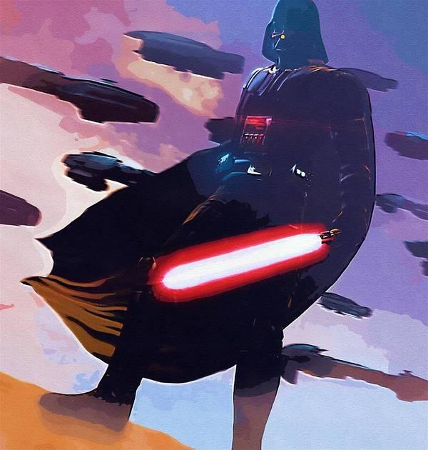 Star Wars Episode 3 Poster featuring the digital art Saga Star Wars Poster by Larry Jones