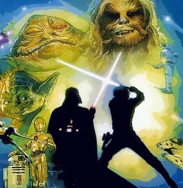 Star Wars Episode 3 Poster featuring the digital art The Star Wars Art by Larry Jones