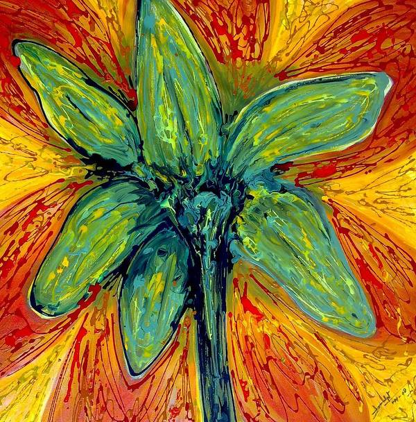 Abstract Poster featuring the painting Digital Flower Painting by Baljit Chadha