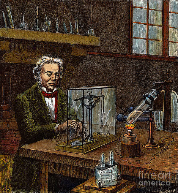 19th Century Poster featuring the drawing Michael Faraday, 1791-1867 by Granger