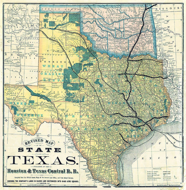 Railroad Map Of Texas.1876 Texas Railroad Map Poster