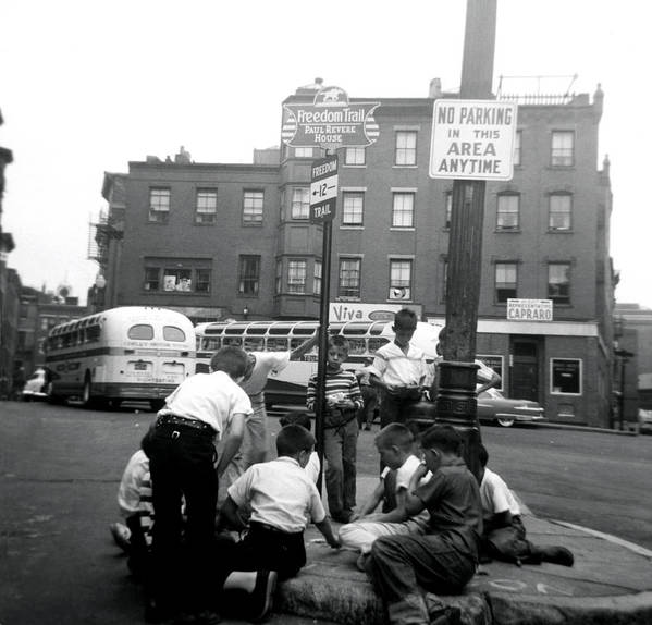 Boston Poster featuring the photograph 1955 Boys Of The North End Boston by Historic Image