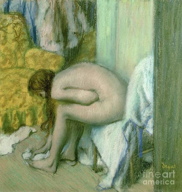 Wet Poster featuring the pastel After The Bath by Edgar Degas