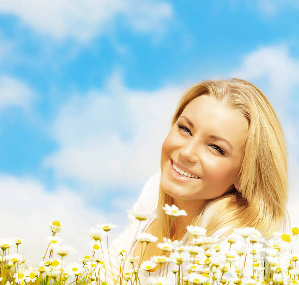 Adult Poster featuring the photograph Beautiful Woman Enjoying Daisy Field And Blue Sky by Anna Om