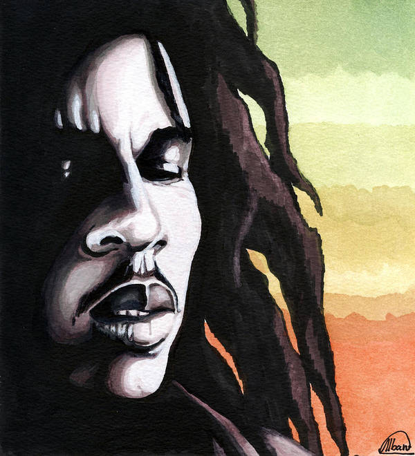 Stars Poster featuring the painting Bob Marley Portrait by Alban Dizdari