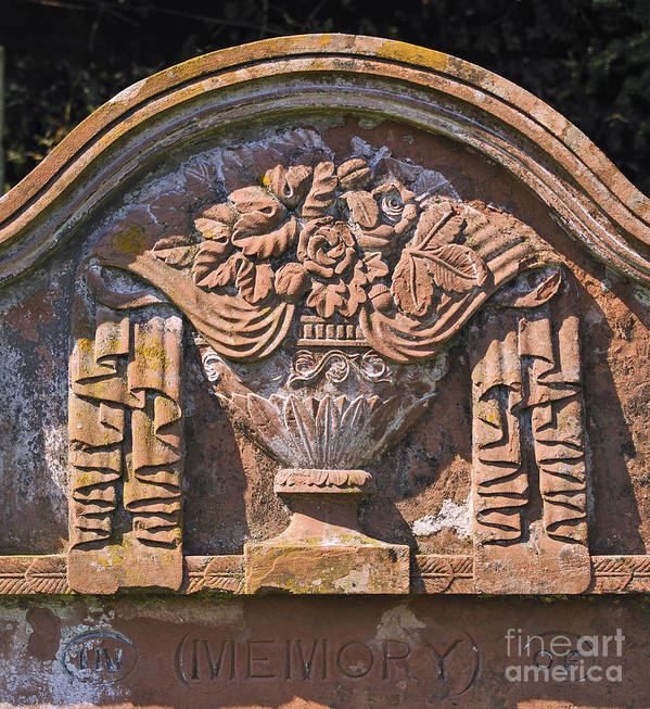 Draped Urn Roses Flowers Oak Leaves Design Gravestone Detail Sandstone Church Saint Kentigern Caldbeck Cumbria England United Kingdom Europe Poster featuring the photograph Gravestone With Draped Urn. by Stan Pritchard