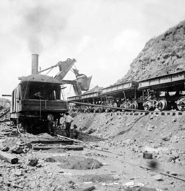 panama Canal Poster featuring the photograph Panama Canal - Construction - C 1910 by International Images