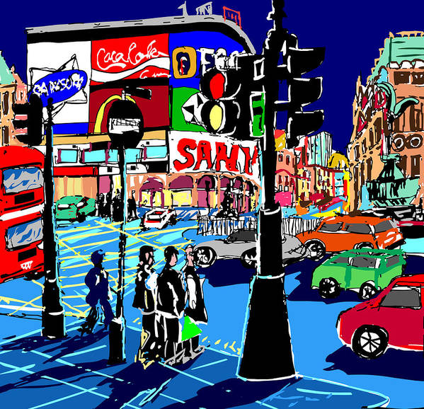 Cityscapes Semi Abstract Painting London Cityscape Prints Poster featuring the painting Piccadilly Blues by Ralf M Broughton