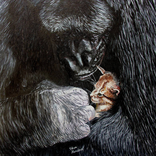 Gorillia Poster featuring the painting Tribute to Koko by Stan Hamilton