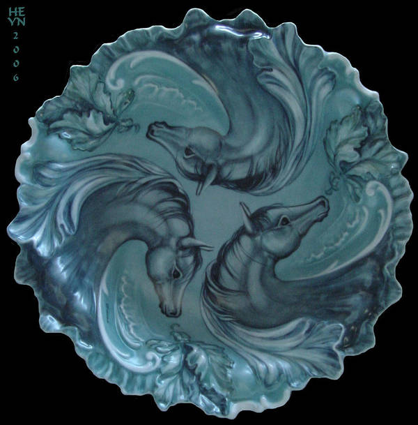 Fired Art Poster featuring the ceramic art 3 Horses In Teal by Shirley Heyn