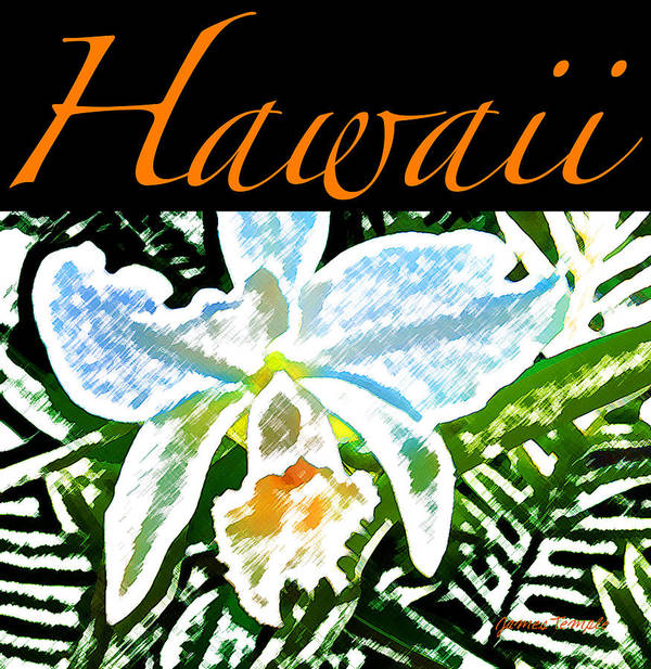 Hawaii T-shirt Poster featuring the digital art White Orchid by James Temple