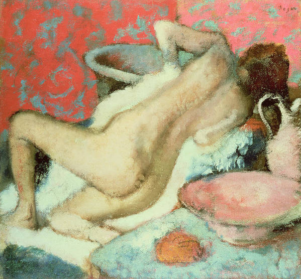 Nude; Impressionist; Female; Bathing; Femme Se Sechant; Secher; Toilette Poster featuring the painting Woman Drying Herself by Edgar Degas
