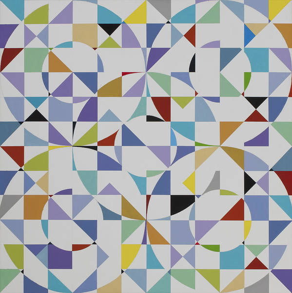 Colorful Geometric Pattern Poster featuring the painting Untitled 9 by Marston A Jaquis