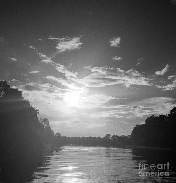 Black Poster featuring the photograph A Black And White Sunset by Linda Dautorio
