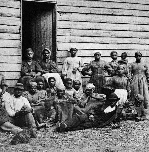 Slavery Poster featuring the photograph A Group Of Slaves by Photo Researchers