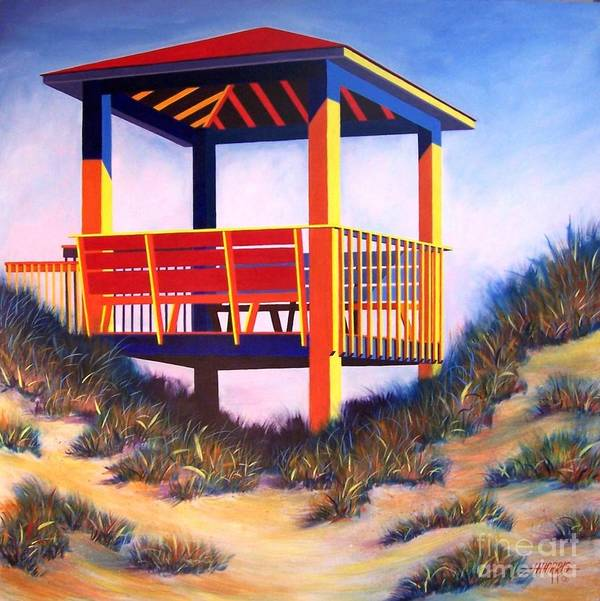 Cheerful Beach Scene Painted In Acrylic On Gallery Wrap Canvas Poster featuring the painting A Happy Place by Hugh Harris