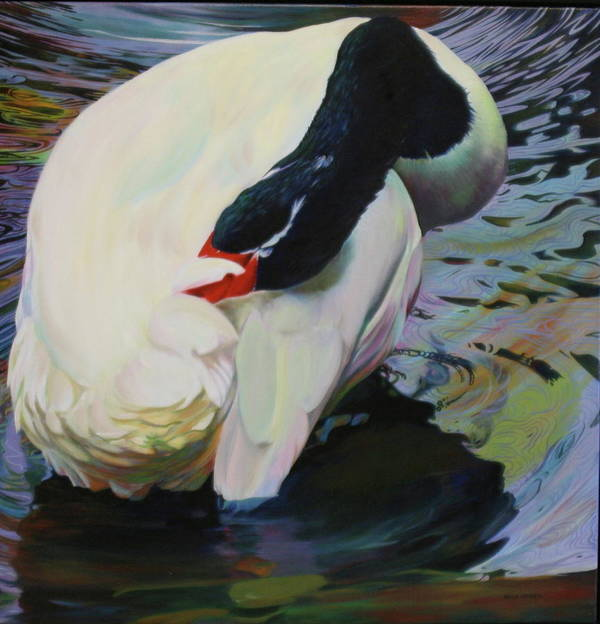 Swan Poster featuring the painting A Lady Bathing by Kelly McNeil