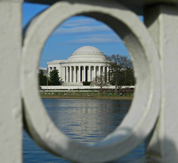 A Peek At The Jefferson Memorial Poster featuring the photograph A Peek At The Jefferson Memorial by Emmy Vickers