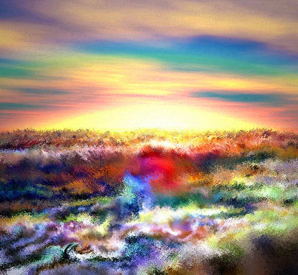 3d Poster featuring the digital art A Rainbow Paisley Sunrise V.2 by Rebecca Phillips