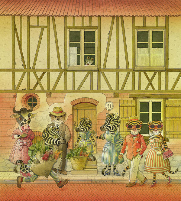 Striped Zebra Animals Cow Bear Tigers Street Old Town House Illustration Children Book Poster featuring the painting A Striped Story08 by Kestutis Kasparavicius