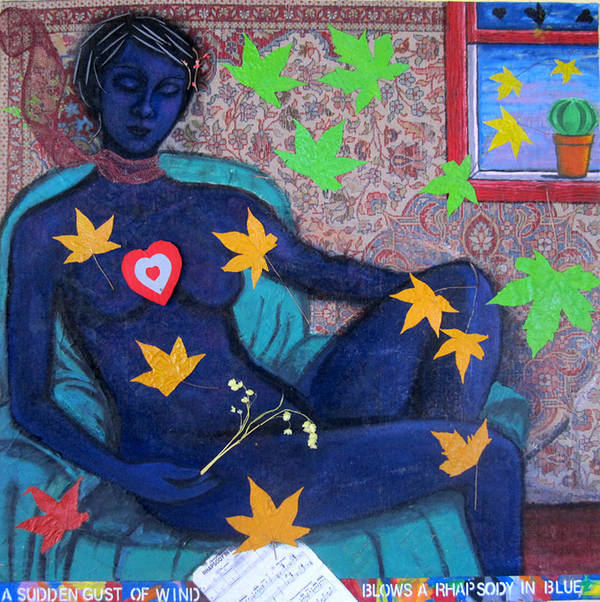 Woman Poster featuring the painting A sudden gust of wind blows a rhapsody in blue by Susan Stewart